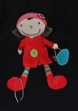 Peluche doudou poupée fille EBULOBO FNAC Oxybul Eveil et Jeux rouge 35 cm TTBE