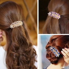 Ladies Temperament Leaf Crystal Rhinestone Barrette Hairpin Hair Clip Jewelry SK