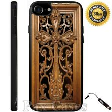 Carved Wood Cross Print Custom Case iPhone 6S 7 Plus Samsung Galaxy S7 S8 Plus