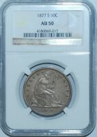 1877 S NGC AU50 WB-101 Micro S Open Bud Seated Liberty Half Dollar