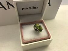 "Pandora "" Green Stepping Stone ""Murano Glass Charm # 790913"