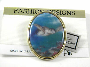 Turtle on Porcelain Pin hand made in USA Vintage Pin
