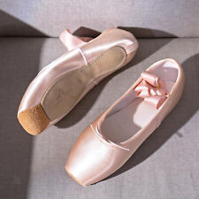 Women Girl Ballet Pointe Shoes Satin Upper with Ribbon Dance Flat Sole Toe Shoes