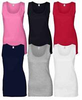 Gildan Ladies Soft Style Plain Tank Top 100% Cotton Vest S-2XL