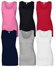 Gildan Ladies Soft Style Plain Tank Top 100% Cotton Vest S-2XL