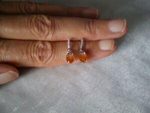 Mandarin Garnet & Zircon stud earrings, 2.36 carats, 1.39 grams 925 Sterling Sil