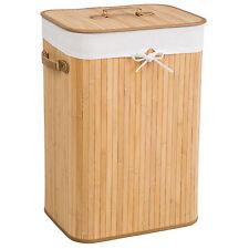 Cesta de bambú para la ropa 72L colada baño cesto madera pongotodo natural