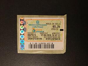 MARCA DA BOLLO TELEMATICA NUOVA da € 0,26 anno 2010