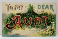 To My Dear Aunt Gold Gild Flowers Embossed 1910 Germany Postcard B21