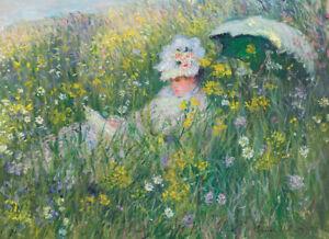"""CLAUDE MONET """"Dans la Prairie"""" woman flowers CANVAS various SIZES available, NEW"""