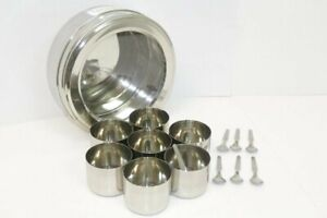 Masala Dabba Stainless Steel Indian Spice Box 7 Containers & 7 Spoons Clear Lid