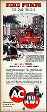 1953 Fire engine pump 19th century AC fuel pumps vintage art print ad adl74