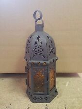 "Amber orange Glass Metal Moroccan Style Decor Hanging Candle Lantern holder 9""T"