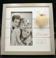 """""""Home"""" Theme Freestanding Wood Photo Frame With Hessian Heart Idea For Family De"""