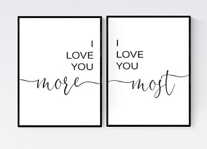 I Love You More, I Love You Most, Set of 2 Love Prints, Bedroom Wall Art