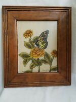 """Butterfly and Flowers Original Art Painting frame 14 by 11 """"Virginia Wells 81"""""""