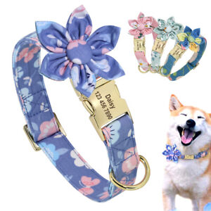 Personalized Dog Name Collar with Big Flower Gold Nameplate Engraved for Free