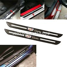 2Pcs Set Cadillac Carbon Fiber Car Door Welcome Plate Sill Scuff Cover Panel