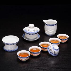 Chinese blue-and-white porcelain tea set ceramic tea pot gaiwan tureen tea cups