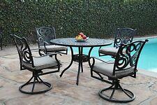 Outdoor Cast Aluminum Great Patio Furniture 5 Peice Swive Chair Dining Set G