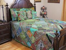 Sari Bedding - Green Beautiful Luxury Embellished Indian Duvet Pillows ~ King