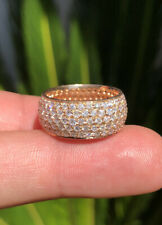 Estate 18k Rose Gold 4.00ctw SI1-2 F-G Diamond Pave Set Wide Eternity Band Ring