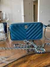 Chanel 18A Wallet On Chain, Deep Turquoise, Silver Tone Hardware