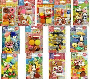 Iwako Japanese Puzzle Erasers Animal/Food/Toy/School Gift Card Set