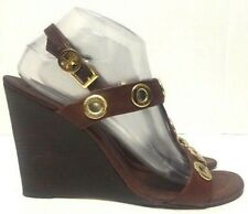 Tory Burch T-Strap Wedge Sandals Brown Leather Gold Circle Womens Size 10M