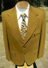 Sweet Vtg 1970s Golden Khaki Blazer Jacket 40S - w/ Back Belt * Tie Included