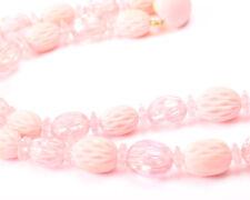 Pink Plastic Bead Necklace Vintage 1950s