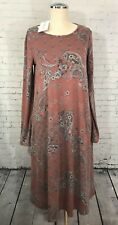 Filly Flair Dress Womens Small Midi Length Long Sleeves Paisley Floral Print NWT