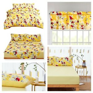 DaDa Bedding Sunshine Yellow Floral Duvet Cover Fitted Flat Sheets Valances Set