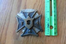 Brass TFMM Knights of Columbus Badge plate Iron cross Tempus Fugit Memento Mori