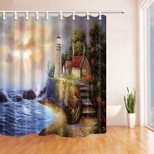 Ocean lighthouse Lodge Theme Bathroom Fabric Shower Curtain 84 Inches Extra Long