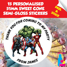 15 Personalised Avengers Birthday Party Thank You Stickers Sweet Cone Seals