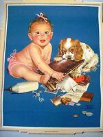 Adorable Vintage Print by Francis Tipton Hunter w/ Baby & Cocker Spaniel *