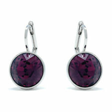Drop Earrings with Purple Amethyst Round Crystals from Swarovski Rhodium Plated