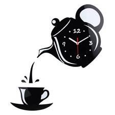 DIY Wall Sticker Modern Coffee Cup Teapot Clock Decal Home 3D Wall Decorations #