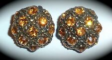 Vintage - Exquisite Amber/Topaz Rhinestone Clip-On Earrings