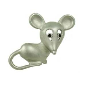 Matte Silver-tone Mouse with Black Eyes Brooch Pin - PRA015A