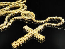 Mens 10K Yellow Gold Rosary Canary Diamond Chain Necklace 10.0 Ct