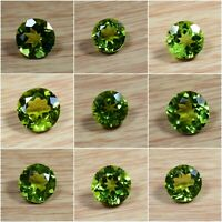 100% Natural Olive Green Brazilian Peridot Genuine Faceted Round Loose Gemstone
