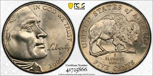 "2005-P 5C Jefferson ""Bison"" Nickel PCGS MS64+ Gold Shield Label"