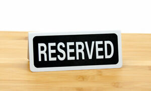 Small Reserved Signs, Tent Style, Black, 20 Pack, Free Shipping
