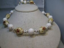 "Vintage Floral Beaded Necklace, Japan, 29"", White/Pale Yellow, 1960's"