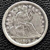1838 Seated Liberty Dime 10c High Grade XF Det. Huge Die Break Rare #17243