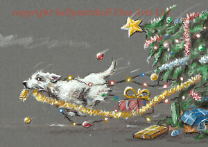 Funny Westie Dog Christmas cards pack of 10 by Paul Doyle C461X