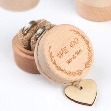 Vintage Romantic Wooden Rustic Wedding Bearer Ring Box Holder Decor Gift + Heart