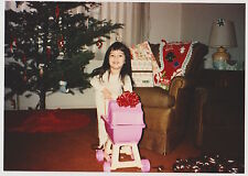Vintage 80s PHOTO Little Girl w/ Pink Doll Buggy